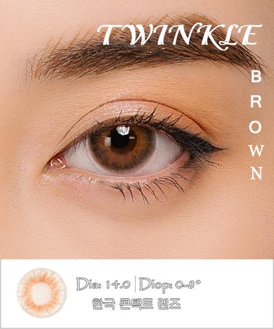 Kính áp tròng TWINKLE BROWN nâu ánh cam - Lens mắt Hàn Quốc