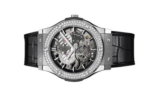 Đồng Hồ Hublot Classic Fusion Classico Ultra-thin Skeleton Titanium Diamonds 45mm 515.nx.0170.lr.1104