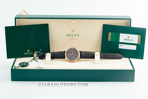 Đồng Hồ Rolex Cellini Dual Time 50525 Mặt Số Chocolate