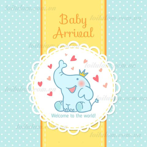 Phông sinh nhật BABY ARRIVAL con voi