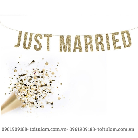 Dây chữ JUST MARRIED ép gold