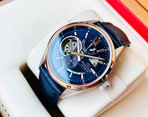 ĐỒNG HỒ ORIENT STAR SEMI SKELETON MOVING BLUE RE-AV0111L00B