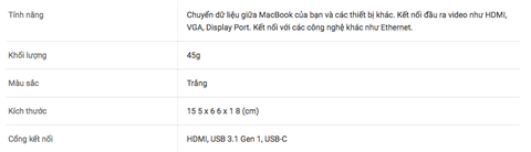 Cáp Apple USB-C Digital AV 4K60hz