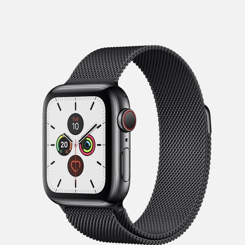 Apple Watch Series 5 Black Stainless Steel Milanese Loop