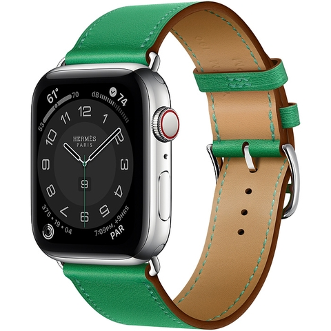Apple Watch Series 6 44mm Hermès Silver Stainless Steel Case with Bambou Swift Leather Single Tour