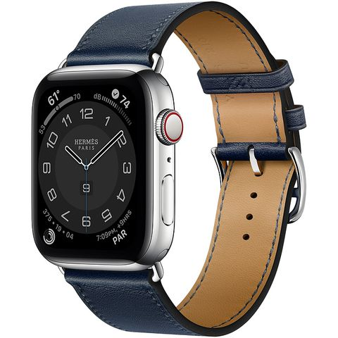 Apple Watch Series 6 Hermès Silver Stainless Steel Case with Navy Swift Leather Single Tour