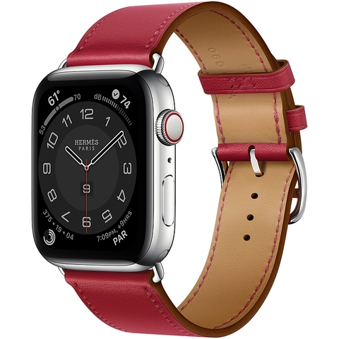 Apple Watch Series 6 Hermès Silver Stainless Steel Case with Rouge Piment Swift Leather Single Tour