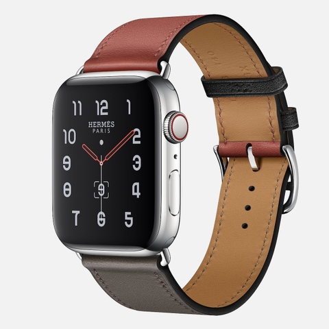 Apple Watch Hermès Series 5 Noir/Brique/Étain Swift Leather Single Tour