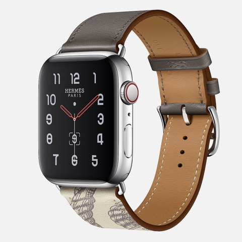 Apple Watch Hermès Series 5 Étain/Béton Swift Leather Single Tour