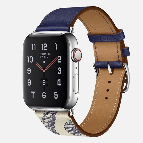 Apple Watch Hermès Series 5 Encre/Béton Swift Leather Single Tour
