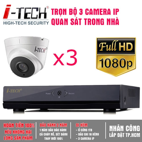 Bộ 3 Camera IP 2.0 Megapixel  iTech-CX20