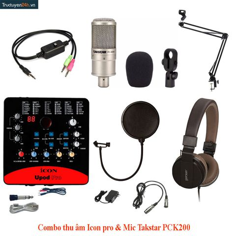 Combo thu âm sound card Icon Upod pro + Mic Takstar PC K200