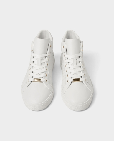 ZARA - WHITE HIGH-TOP SNEAKERS WITH GOLD EYELETS