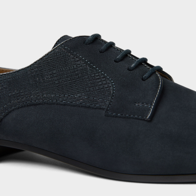 ZARA NAVY BLUE LEATHER DERBY SHOES