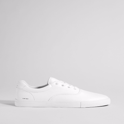 BERSHKA MONOCHROME SNEAKERS WHITE SLOGAN - 7138/032/001