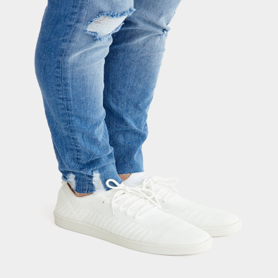 PULL$BEAR WHITE KNIT FABRIC TRAINERS - 7249312