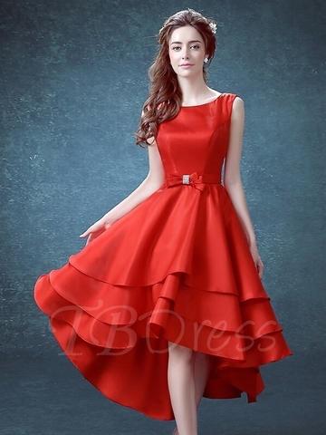 Đầm xoè 3 tầng sát nách nơ eo sang trọng (Đỏ)