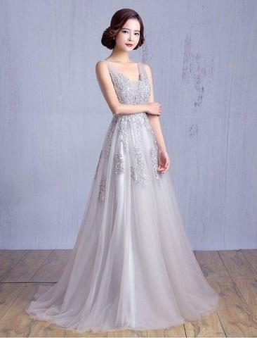 Đầm dạ hội kiểu cổ V hở lưng xoè rộng (Xám)