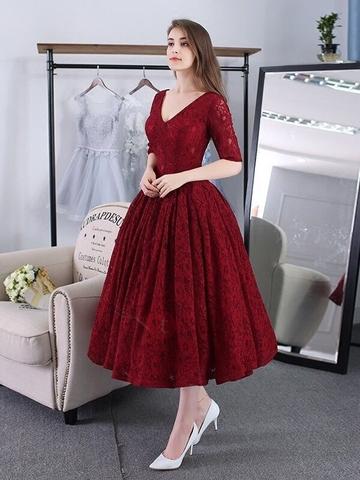 Đầm xoè kiểu cổ tim phối ren cao cấp