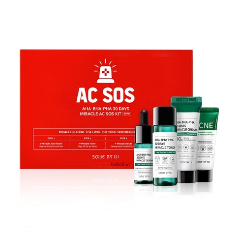 SET Trị mụn 4 món Some By Mi AHA-BHA-PHA 30 Days Miracle AC SOS Kit