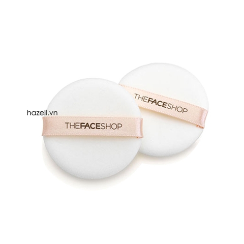 Set Bông phấn The Face Shop Round flocked Puff -2 miếng TRẮNG - Tròn