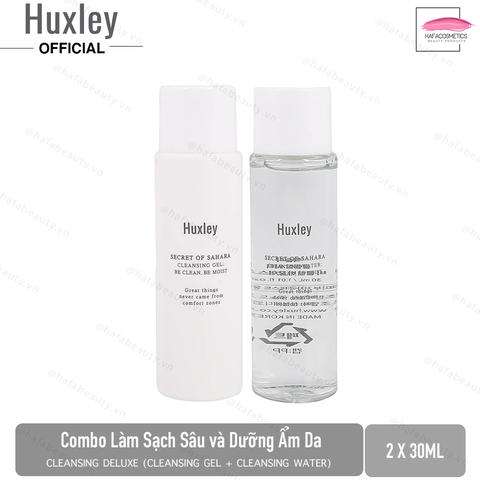 Bộ 2 Sản phẩm làm sạch da Huxley Cleansing Deluxe Complete 30ml x2 (Cleansing Water 30ml + Cleansing Gel 30ml)