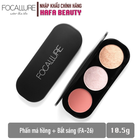 Phấn Má Hồng + Bắt Sáng Focallure Triple Colors Effect Blush & Highlighter Palette FA-26