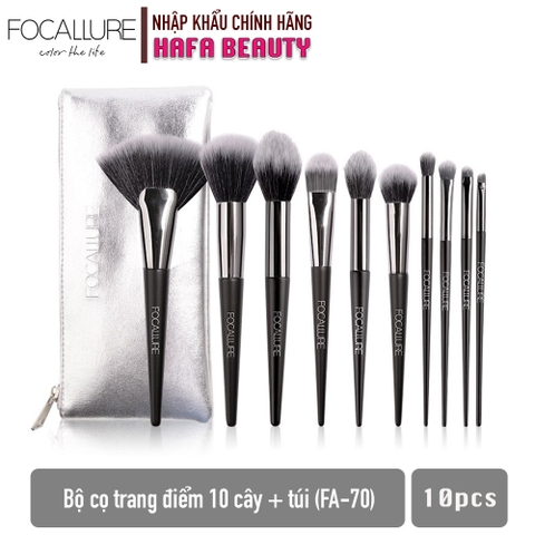 Bộ Cọ Trang Điểm 10 Cây Focallure 10pcs Brushes Set (with bag) FA-70
