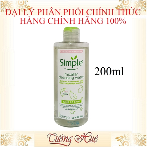 Nước tẩy trang Simple Micellar Cleansing Water - 200ml