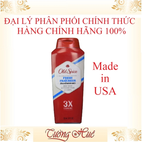 Sữa Tắm Nam Old Spice Fresh 3X CLEAN/NET - 532ml - Đỏ.