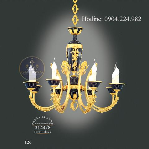 Đèn chùm mạ vàng 9999 Thụy Sĩ cao cấp 3144/8 xuất xứ Iran