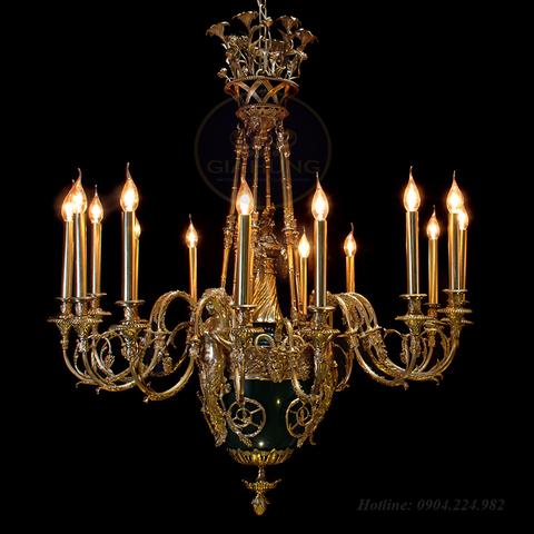 Đèn chùm nến đồng châu âu 8004-15