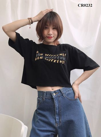 CR0232 - Croptop cotton tay lỡ  Weekend - SỈ 100K