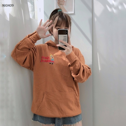 NI0409 - HOODIE NÓN IN  GOOD MORNING - sỉ 125k