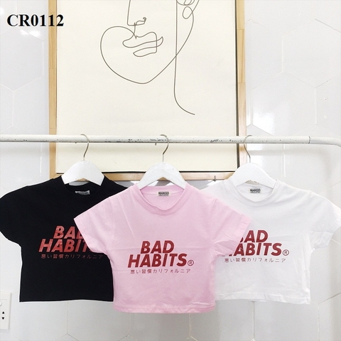 CR0112 - Áo croptop cotton 100% BAD HABITS