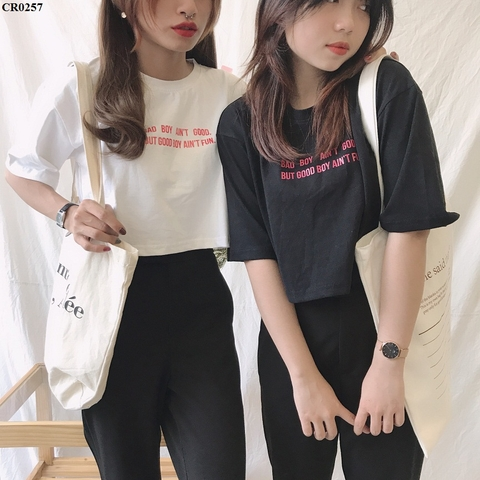 CR0257 - Áo croptop cotton Bad Boy - sỉ 100k