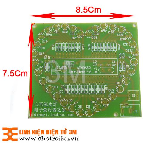 PCB Led Trái Tim 32 Led Basic 75x85mm