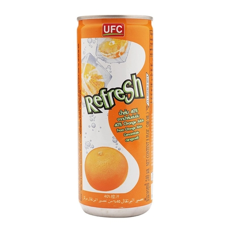 Lốc 6 Lon Nước Cam UFC Refresh Orange Juice Thái (240ml x6)