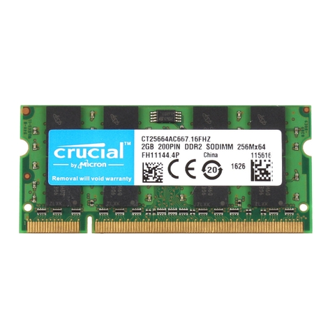 Ram Crucial 2GB 2RX8 DDR2 cho Laptop