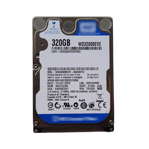 Ổ cứng Laptop HDD WD 320GB WD3200BEVE 5400RPM PATA/IDE/EIDE 2.5