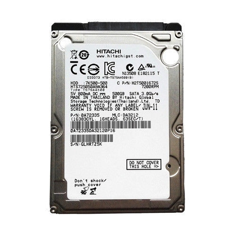 Ổ cứng Laptop HDD Hitachi 500GB HTS725050A9A364 7200RPM 2.5