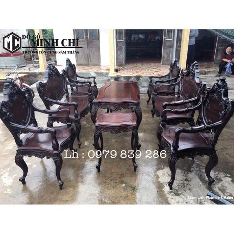 Bộ bàn ghế louis Pháp 9 món1