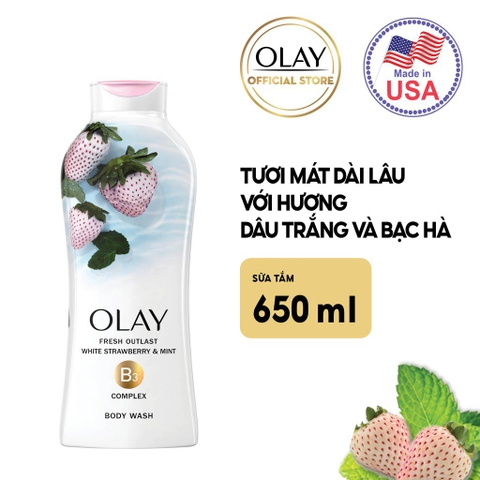 Sữa tắm Olay Cooling White Strawberry & Mint 650ml