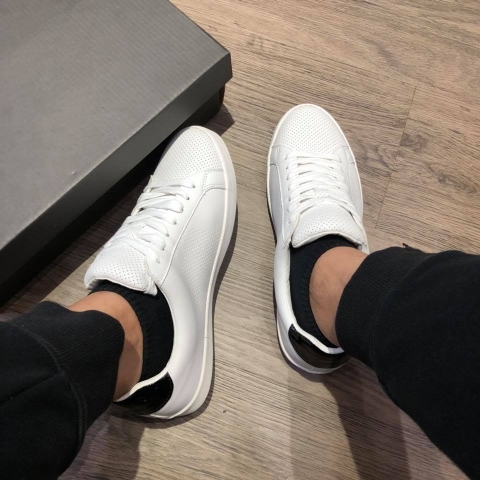 Giày nam Zara Micro-Perforated Sneakers trắng auth