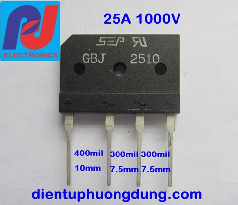 Diode cầu dẹt 25A 1000V - GBJ2510