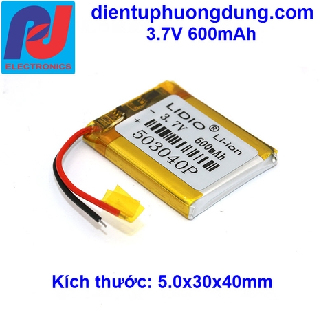Pin Li-ion 3.7V 600mAh 503040P