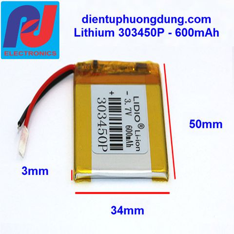 Pin Li-ion 3.7V 600mAh 303450P