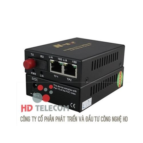 100M Media Converter with 1 Fiber Port & 2 Ethernet Ports