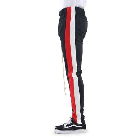 EPTM| Double Stripe Track Pants / Black Red Off-white