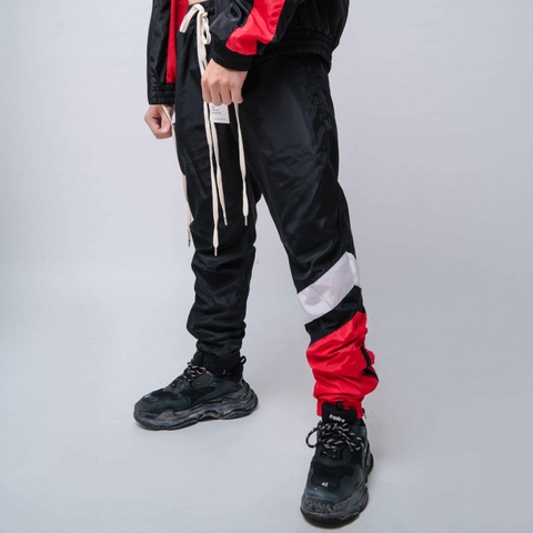 EPTM | Windbreaker Color Block Pants / Red White Black